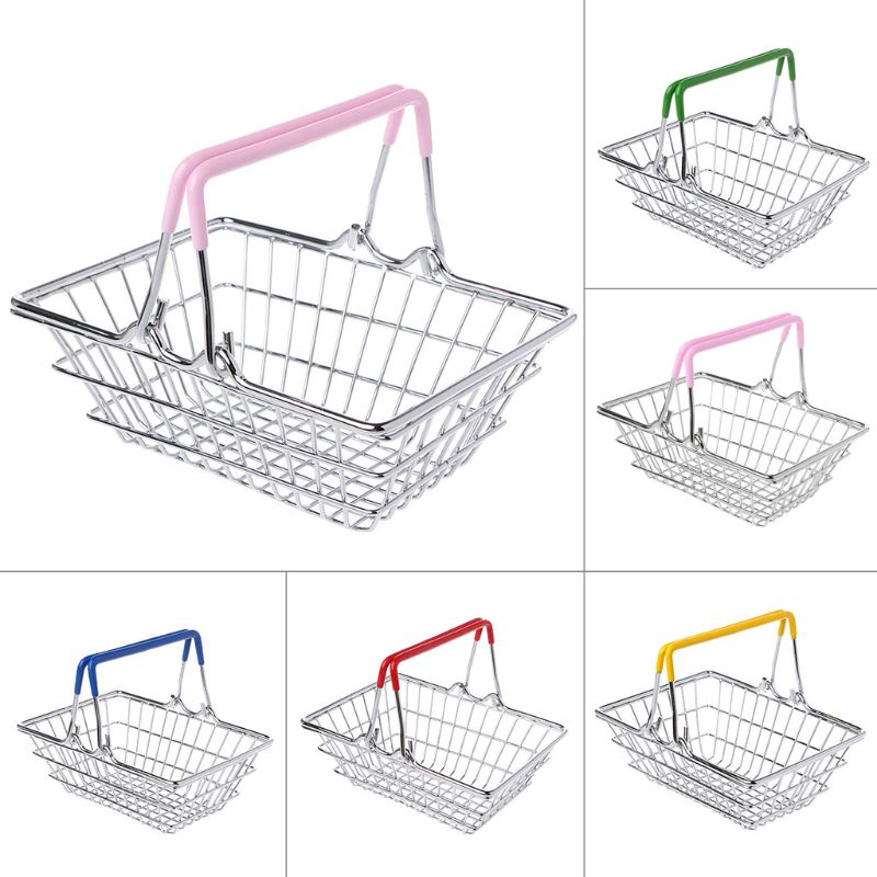 Mini Supermarket Shopping Hand Basket Kids Toy Pretend Play Home Decor