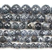 Граненые круглые бусины черного цвета 6 12 мм 14 дюймов оптовая