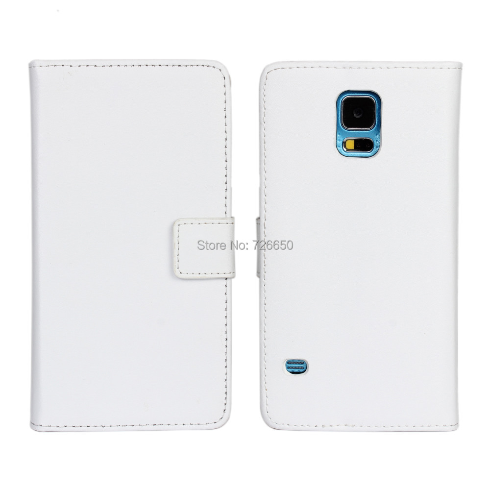Genuine Leather Case For Samsung Galaxy S5 S V Wallet Style With Stand TV Function & Card Slots + Free Screen Protector