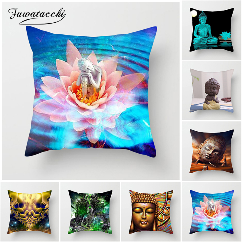 Fuwatacchi Buddha Pillow Cushion Golden Indian Style Bohemia Print Pillowcase living room accessories home decor Pillow Cover(China)