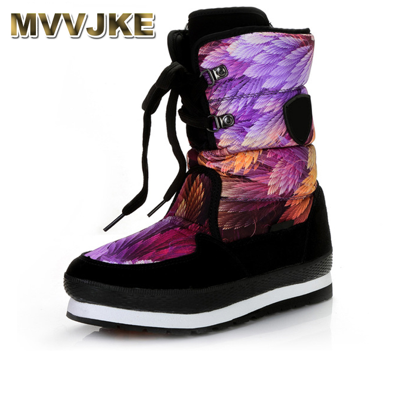 MVVJKE 2018 Fashion New Arrival Mixed Color Print Waterproof Plush Warm Boots Women Lace Up Snow Boots Shoes Shoes Woman Large mixed print lace insert tiered hem skirt