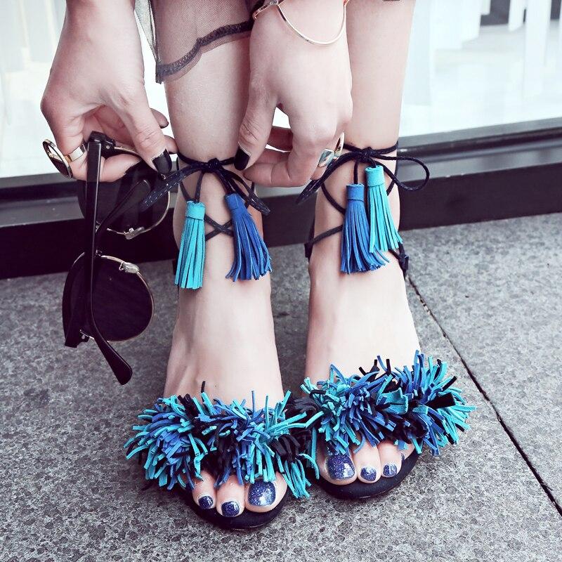 Blue Alti Vera Da Femme Lace Up Pelle As Pic Grosso Tacchi In Nude Sandales Gladiatore as Pic Nouveau Sandali Frange Con Scarpe Donna Scamosciata 2018 aTtCnqw