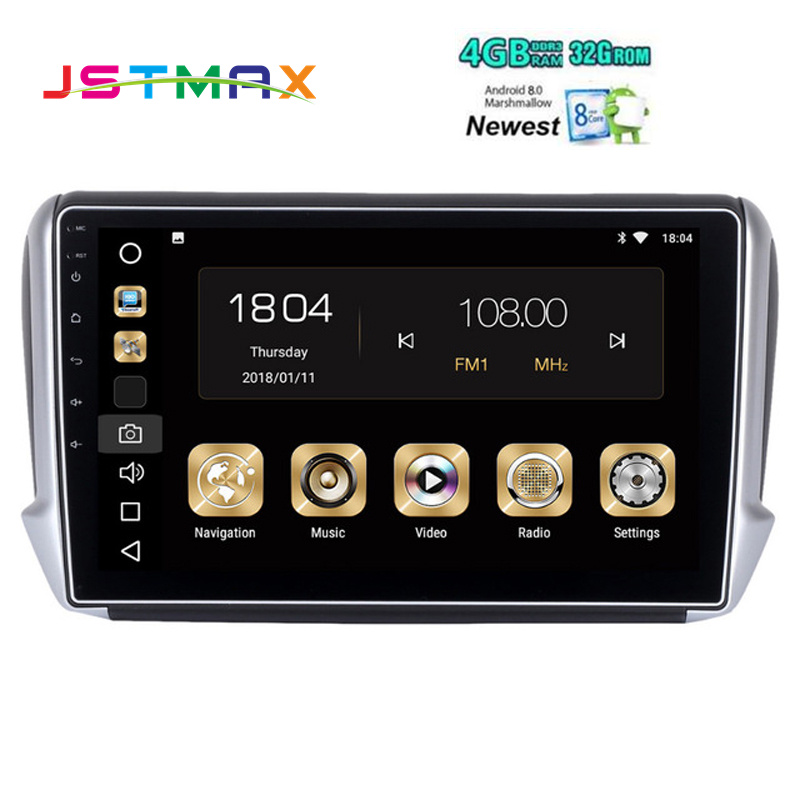 JSTMAX 10.2 Android 8.0 Car GPS Radio Player for Peugeot 2008 208 din GPS for Peugeo with Octa Core 4GB+32GB Stereo Multimedia
