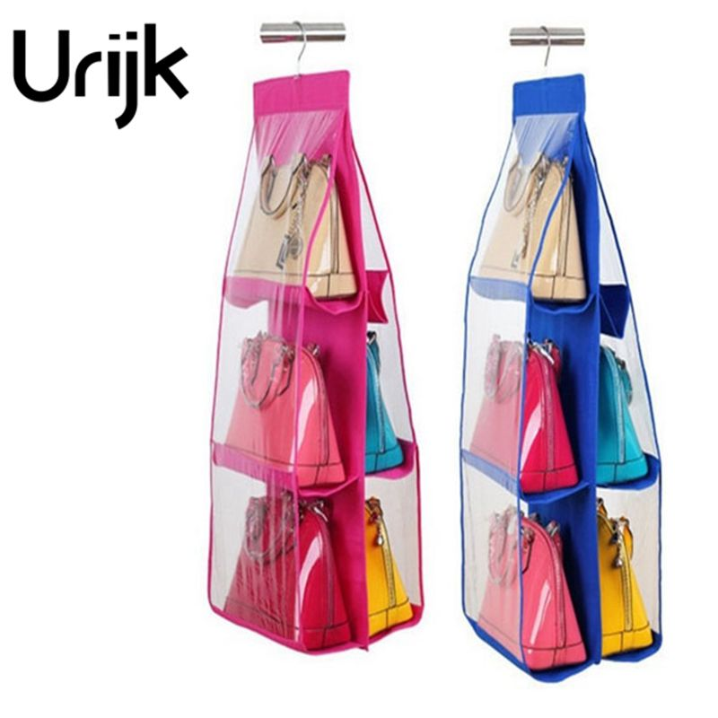 urijk 1pc 6 pockets hanging storage bag purse handbag tote bag shoes storage organizer rack hangers