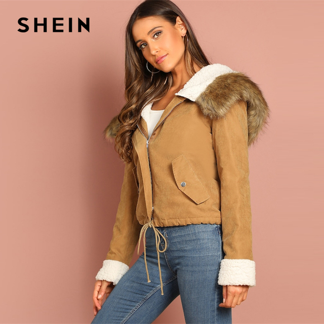SHEIN Khaki Casual Drawstring Hem Pocket Faux Fur Zipper Up Hooded Jacket Autumn Thermal Leisure Women Coat And Outerwear 4