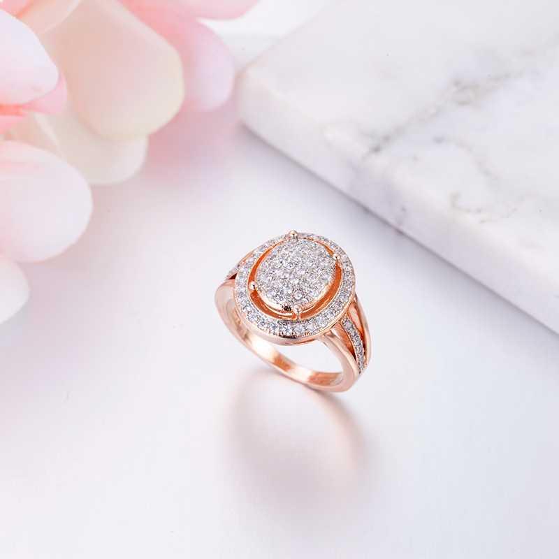 Piedra de zafiro, anillo de compromiso de oro rosa boda joyería fina