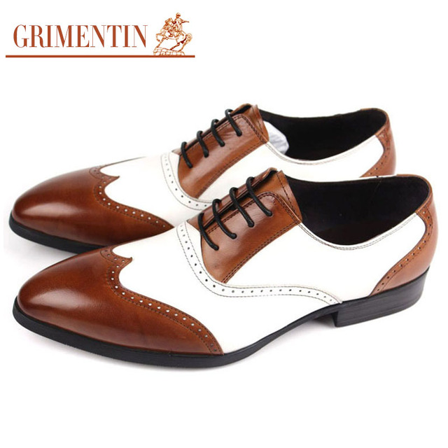 cc9b3fa386c2 GRIMENTIN Fashion Handmade Oxford Shoes For Men White and Brown Wingtip  Genuine Leather Vingtage Dress Shoes Mens Oxfords OX307