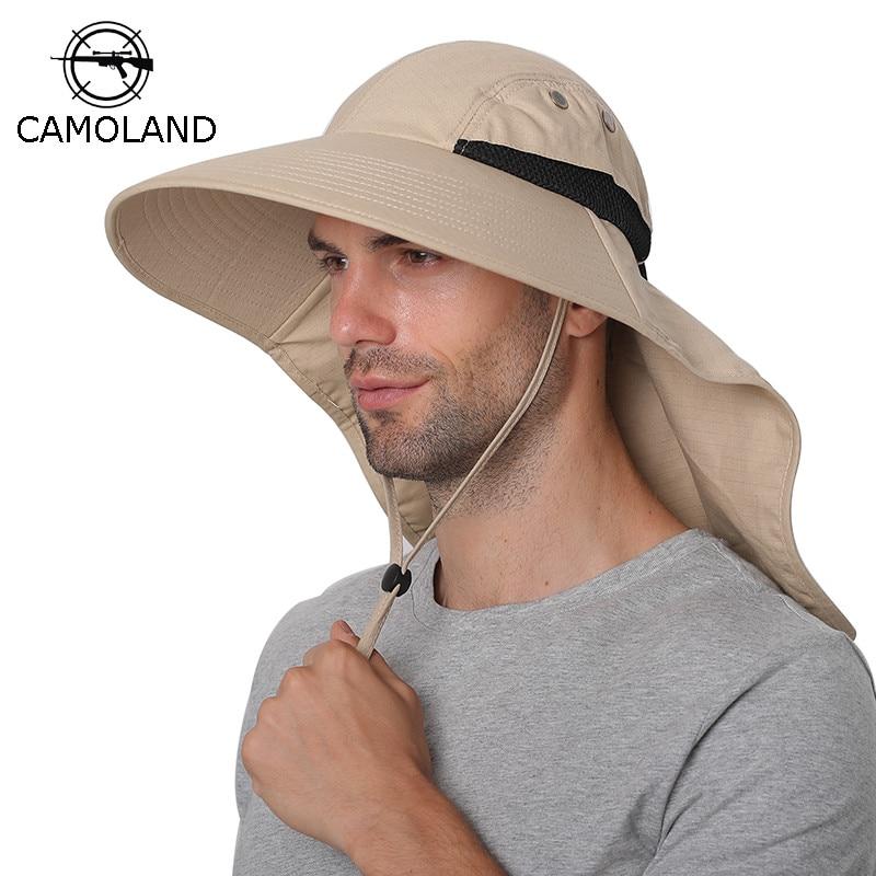 Летняя шляпа от солнца для мужчин и женщин, хлопковая шляпа, закрывающая шею, с защитой от ультрафиолета, с широкими полями, для походов, рыба...
