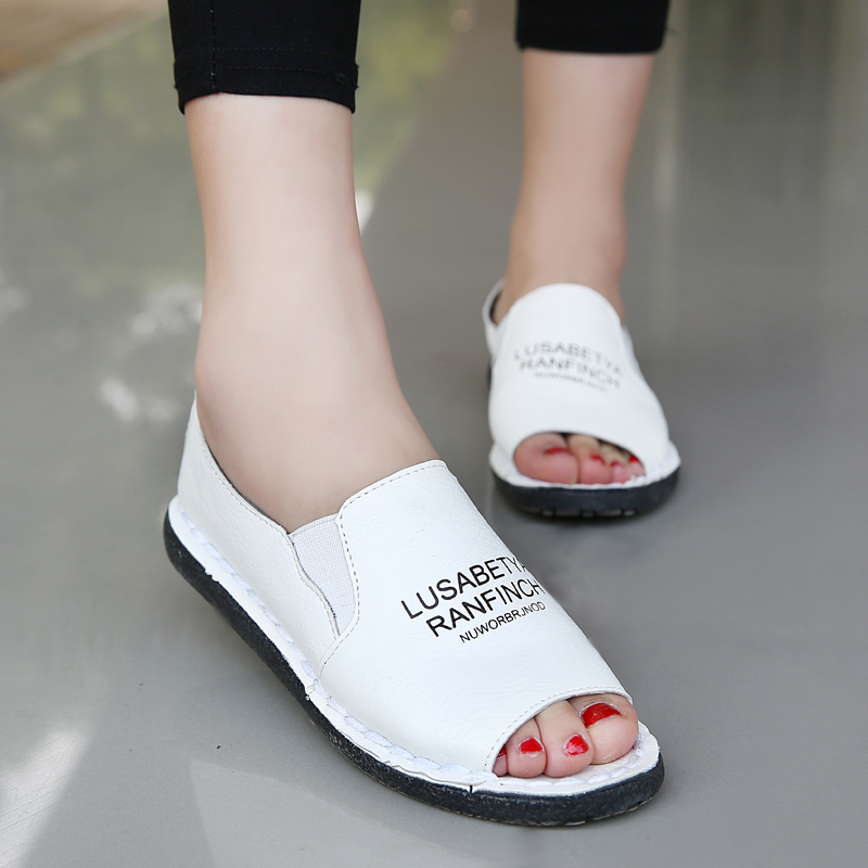 Summer new single shoes women shoes, casual leather soft bottom Peas white shoes flat fish mouth lazy shoes ladies sandals new women sandals low heel wedges summer casual single shoes woman sandal fashion soft sandals free shipping