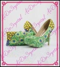 Aidocrystal pfau grün Frauen Plattformen Strass High Heels Hochzeit Schuhe Italienische Schuhe Mit Passenden Taschen