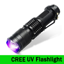 CREE LED УФ Фонарик SK68 Мощный Фонарик Фиолетовый Фиолетовый Свет УФ 395nm фонарик Лампы бесплатная доставка ZK93