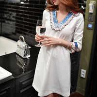 Dabuwawa White Dress 2018 Vintage V neck Sequin Collar Home Solid Above Knee Mini White Dress