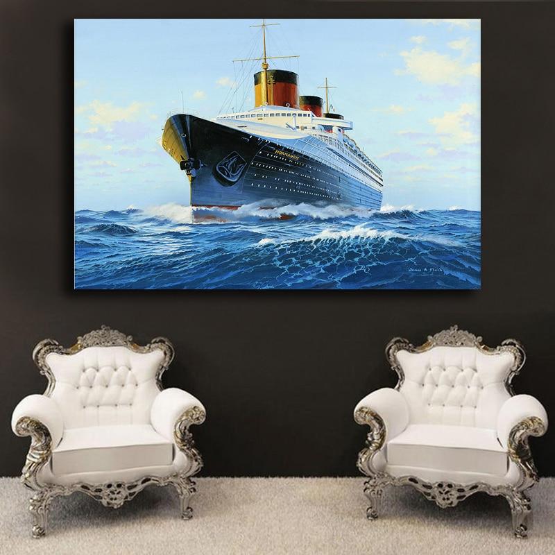 En venta cuadro decorativo Mar y barco pintura al óleo abstracta ...