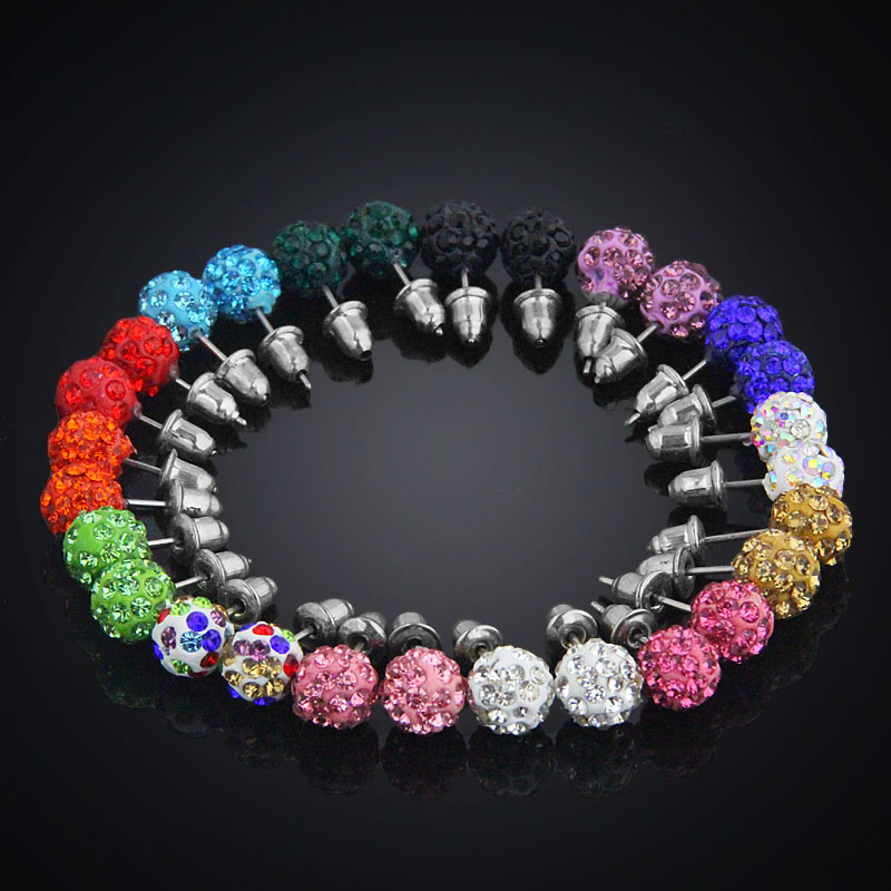 14 Pairs Set 8mm Shamballa Brand Earrings Micro Disco Ball Shamballa Crysta..