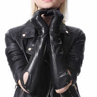 women fashion genuine top real leather buttons elbow long leather gloves
