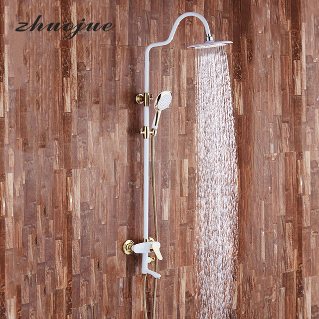 Zhuo Jue Modern Luxury Waterfall Round Shower Faucets Set Mixer Tap ...