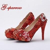 Великолепная Обувь для свадьбы круглый носок Свадебная обувь 4 дюйм(ов) на высоком каблуке Женская обувь на платформе красного цвета Юбилей