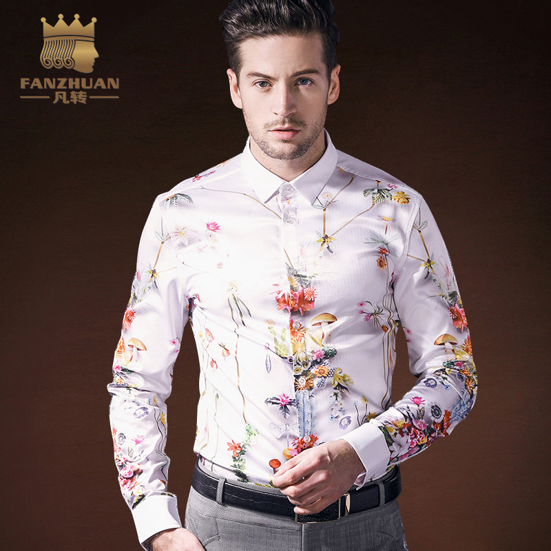 FANZHUAN Designer Brands Men'S Hot Sale 2018 Spring New Men'S Shirts Creative Fun Hawaiian Print Shirt Men'S Flower Shirt