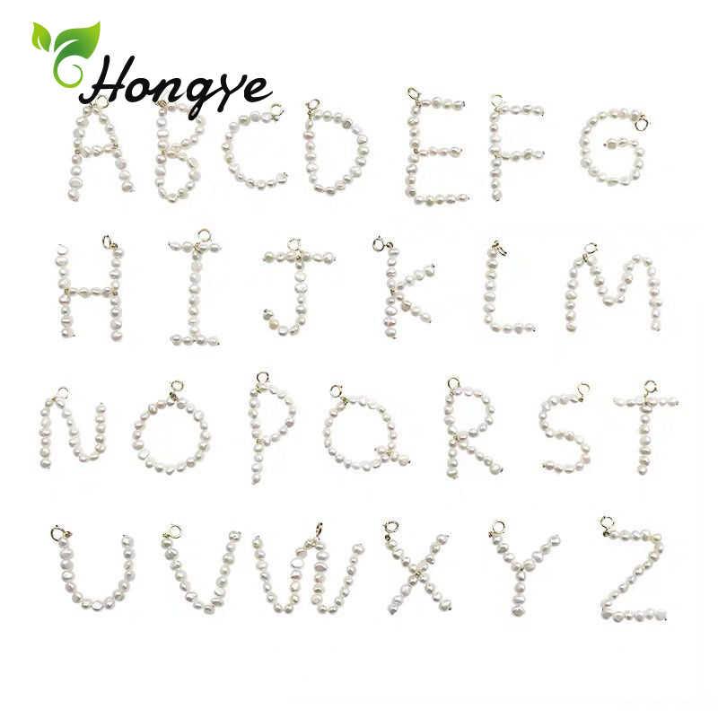 Hongye Marke Neue Frauen Anhänger Halsketten Initial Brief A-Z Perle Charm Fashion Schmuck Gold Hals Kette Barock Natürliche Perle