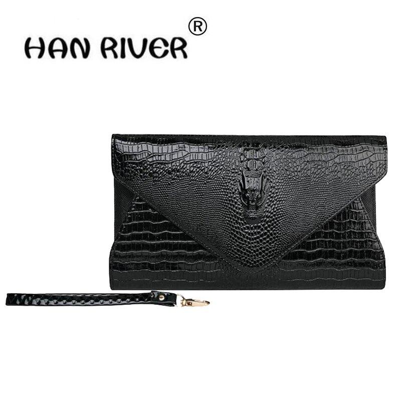 HANRIVER 2018 la nouvelle dame crocodile tient un sac de femmes européennes et américaines sac multi-fonction carte portefeuille