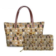 NOISYDESIGNS Shoulder Bags Women Poodle Printing Handbags Ladies Luxury Hand Bag&Wallet for Females Travel Top-Handle Bolsa