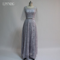 A Line Lace Bridesmaid Dresses 2017 Scoop Long Sleeve Lace Up Floor Length Long Wedding Party