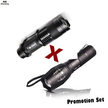 Promotion Set! Hot Sale LED Flashlight XML-T6 Tactical flashlight + Q5 Mini Torch Lanterna Zoomable Waterproof Bike