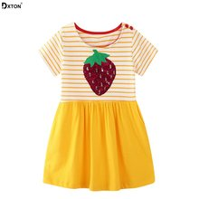 Dxton Sequined Girls Dresses 2019 Strawberry Pattern Design Princess Dress Stripe Wedding Kids Dresses Summer Children Clothing(China)