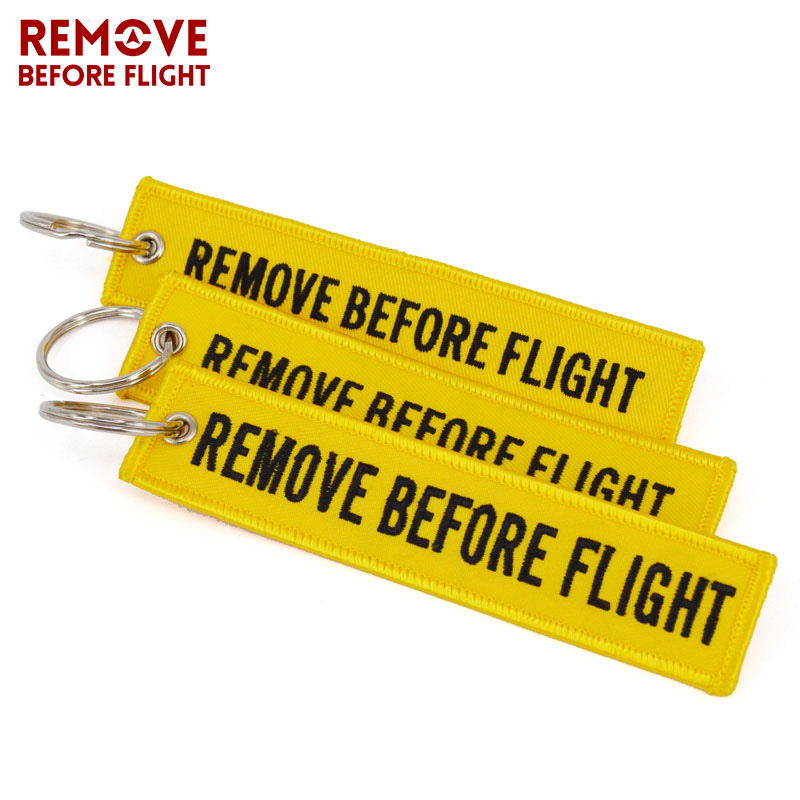 10PCS/LOT Remove Before Flight Key Chain Embroidery Warning Keychain Luggage Safety Tag for Motorcycle Car Key Rings llavero