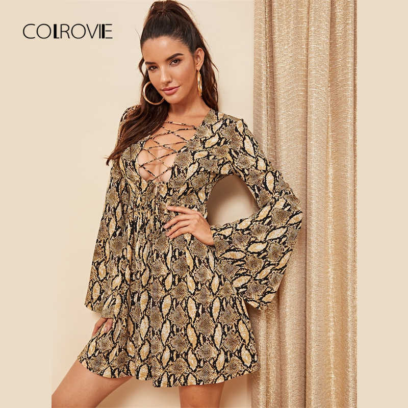 COLROVIE/кружевное платье из змеиной кожи, рукав-волан, Boho, женское платье, осень 2018, глубокий v-образный вырез, винтажные вечерние платья, мини-платья с длинными рукавами