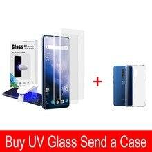 Oneplus 7 Pro のスクリーンプロテクターと指紋ロック解除 UV ガラスフィルムフルカバー oneplus 7 プロ強化ガラス