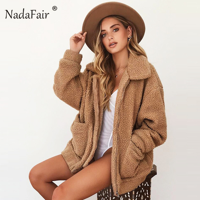 Nadafair Teddy Coat Women Fluffy Jacket Autumn Zipper Plush Thick Casual Plus Size Lamb Winter Faux Fur Coat Female Overcoat