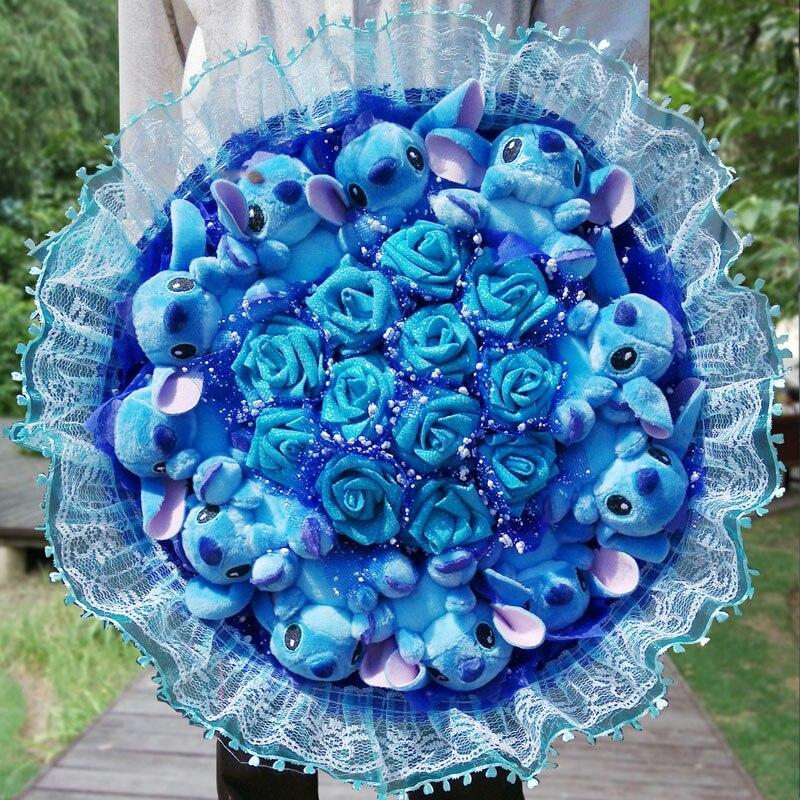 Valentines Day Cartoon Cute Stitch Bouquet Blue Rose
