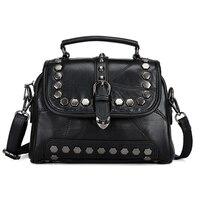 New American LUXURY Style Sheep Genuine Leather Women Shoulder Bag With Rivet Genuine Sheepskin Handbags Skin