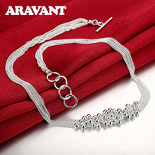 New Fashion 925 Jewelry Ball Shape Six Chain Smooth Bead Necklace For Women Best Gift festive christmas ornament hearts shape bead chain 260cm 2 chain pack
