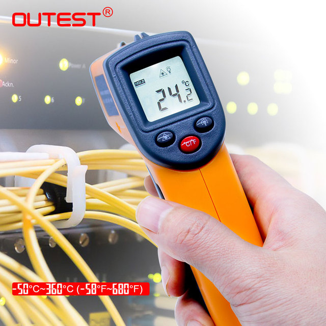 GS320  Non contact Digital Laser infrared thermometer -50~360C (-58~680F) Themperature Pyrometer IR Laser Point Gun