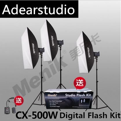 купить Menik CX-500W Photo Studio Strobe Flash Light Kit Trigger Softbox Modeling Lamp Photography Photo Video Studio Flash Kit NO00DC онлайн