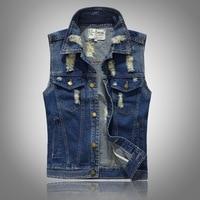 Men's Japanese Cowboy Vest Men's Slim Tide Denim Vest Vest Hole Personality Sleeveless Horse Spring and Summer Men