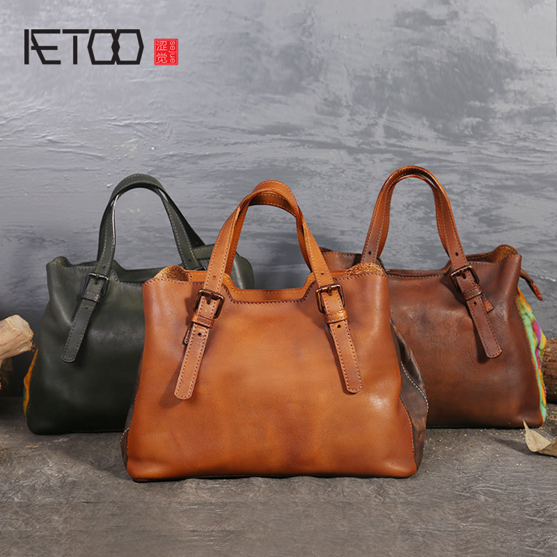 AETOO New personality creative leather handbags first layer of leather retro hand-bag shoulder bag large women women bag the first layer of leather handbag shoulder bag handbags stitching diagonal shopping bag leather bag with large capac
