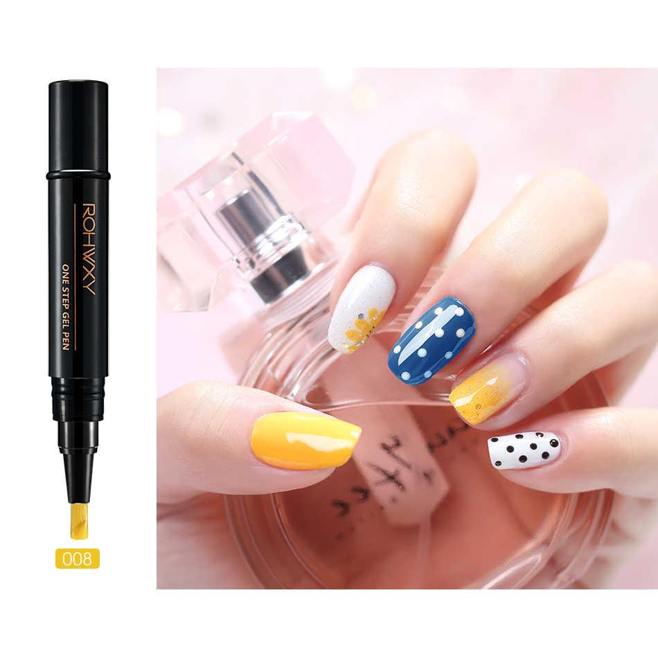 ROHWXY 3 w 1 lakier Pen Manicure UV LED żelowy lakier do paznokci Soak Off żel lakier hybrydowy 60 kolorów lakier do do paznokci narzędzia artystyczne