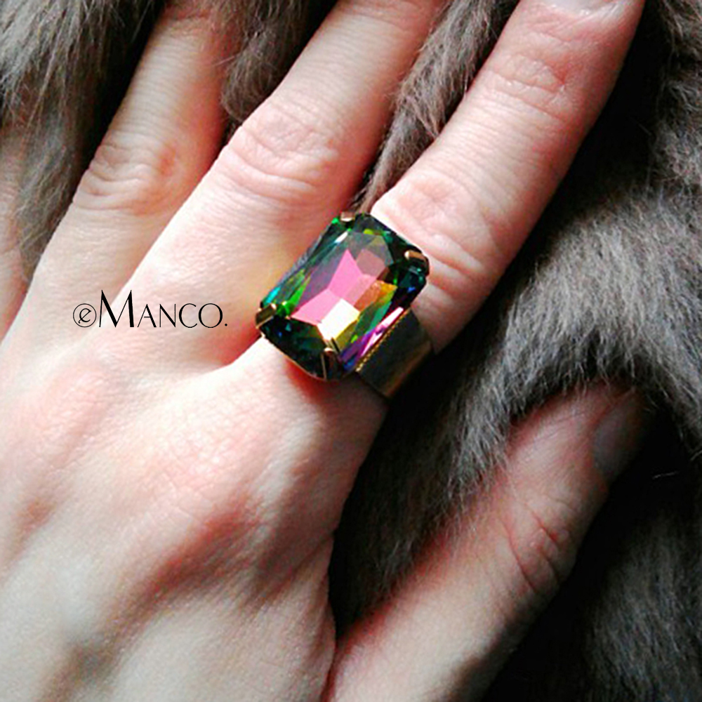 Inel de moda eManco pentru femei & doamnelor 15 culori geometrice creat cristal inel reglabile bijuterie inele