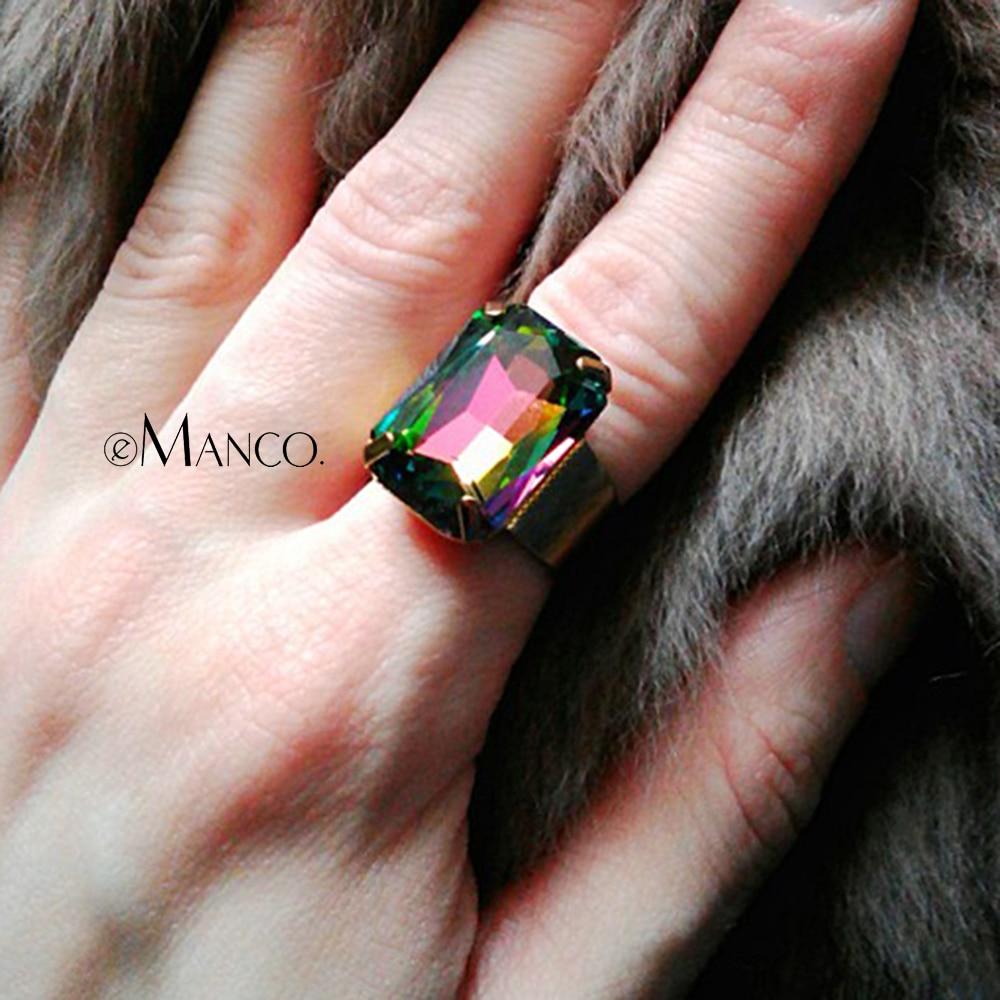 eManco mode ringe til kvinder og damer 15 farver geometriske kreat krystal ring justerbare bijouterie ringe