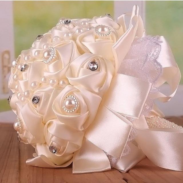 Белый Розовый искусственный свадебные букеты ручной работы Цветок Горный Хрусталь Кристалл Невесты 2017 Свадебные Свадебный Букет де mariage