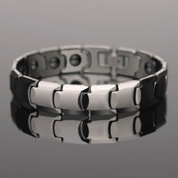 Top Quality Silver Tones 85 7 Tungsten Bracelets Inlay Magnetic Stone For Man Length Adjustable With