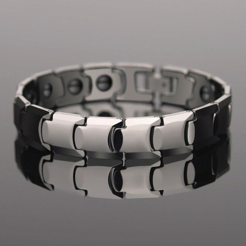 Top qualité argent tons 85.7% tungstène Bracelets incrusté pierre magnétique pour homme longueur réglable avec boîte-cadeau de luxe gratuit