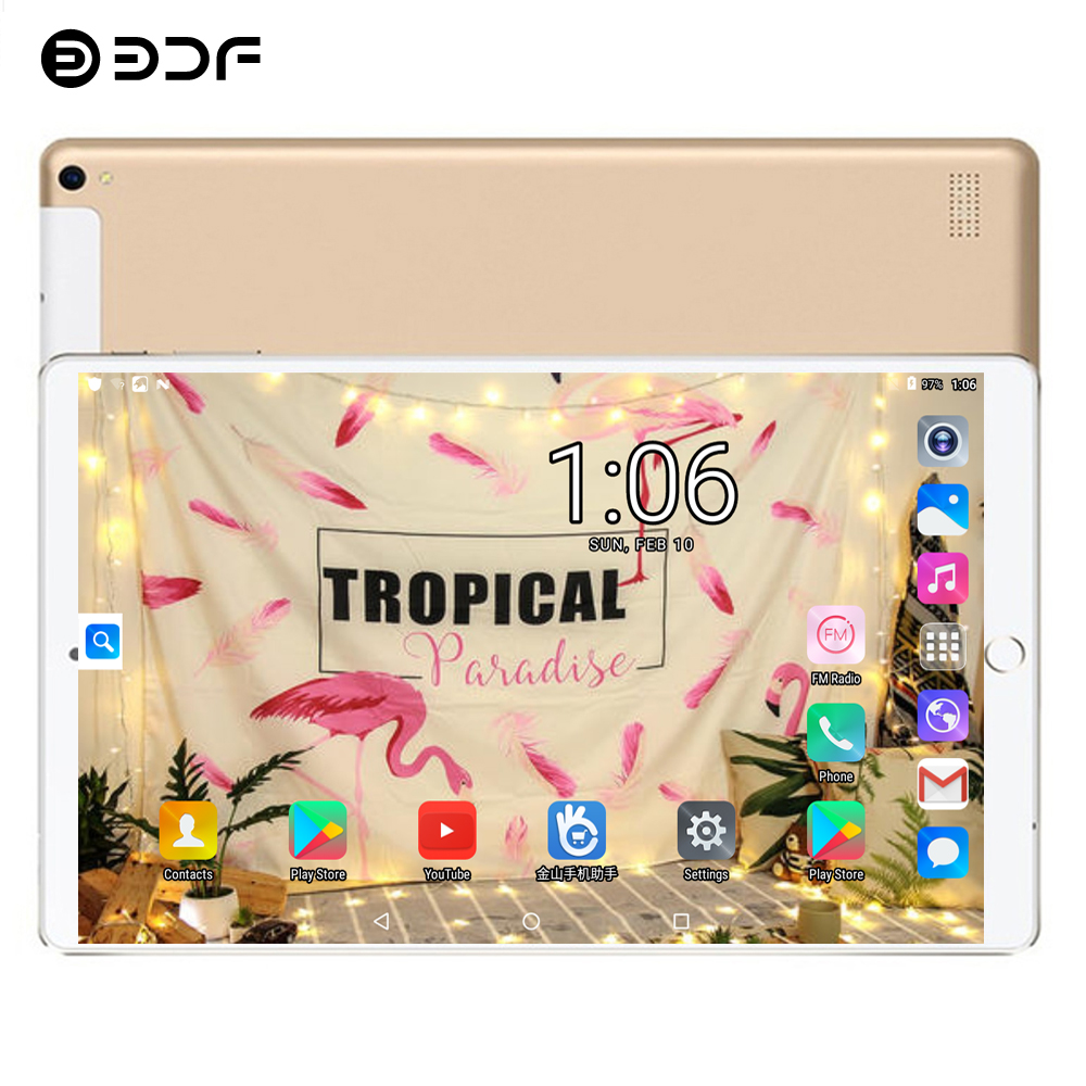 BDF Tablet 10.1 Inch 2.5D Glass Screen Android 7.0 Octa Core Tablet Pc 4GB/64GB Tab 3G 4G SIM Card 5.0MP 1920*1200 IPS Tablet 10