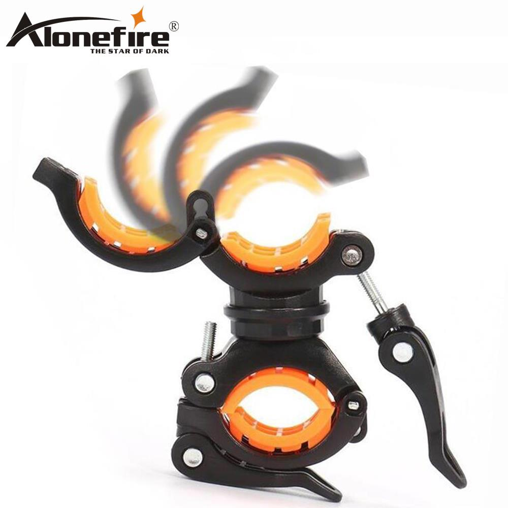 AloneFire BC05 360 Degree Rotation Cycling Bike Flashlight Holder Bicycle Light Torch Mount LED Head Front Light Holder Cliplamp
