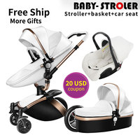 USA EU free ship!Brand 3 in 1 baby stroller aluminium alloy baby pram leather two way shock baby trolley carriage Aulon Babyfond