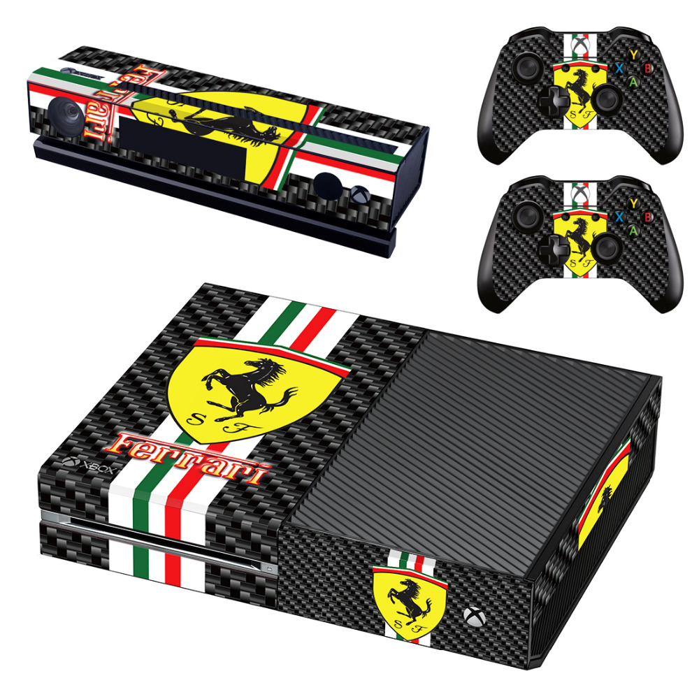 Italia Car Logo Skin Sticker Decal For Microsoft Xbox One Console and Kinect and 2 Controllers Sticker Accessory