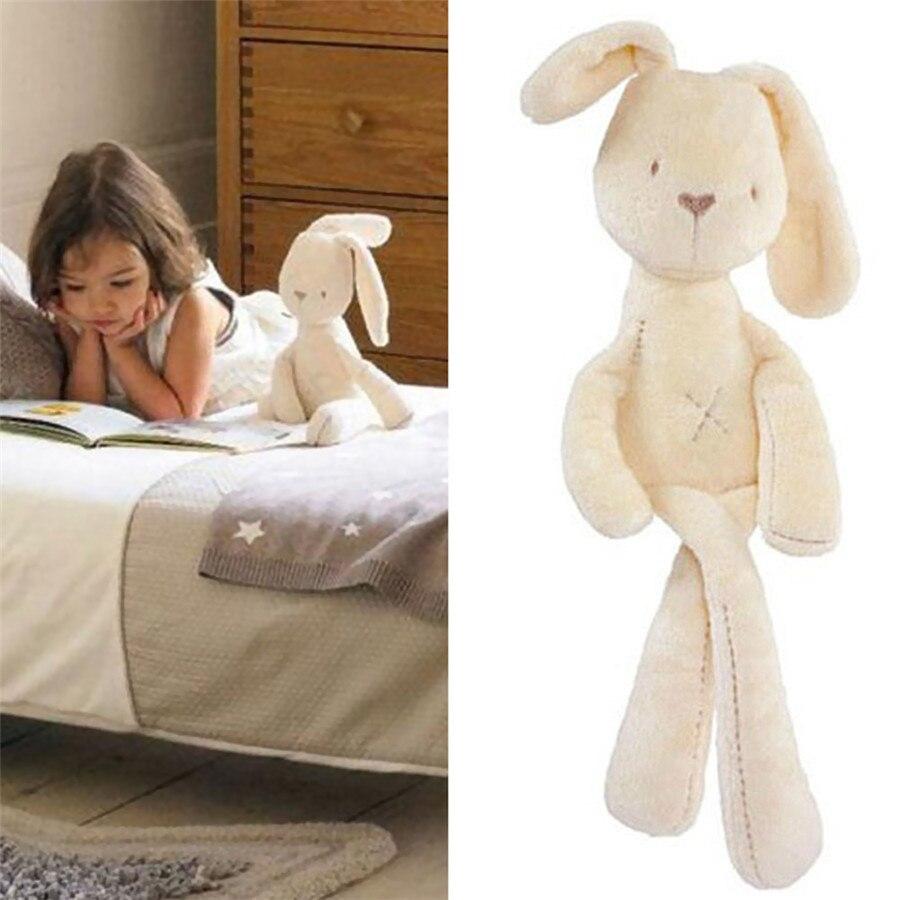 все цены на 35*8cm Cute Bunny Baby Soft Plush Toys Mini Stuffed Animals Kids Baby Toys Smooth Obedient Sleeping Rabbit Doll